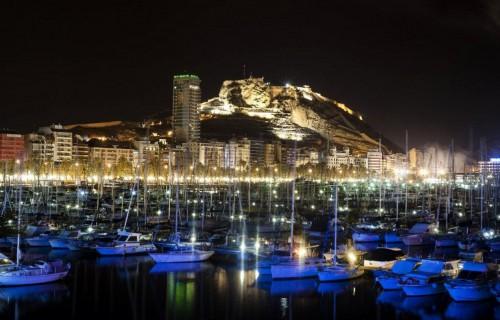 COSTA BLANCA ALICANTE HOGUERAS DE SAN JUAN vista del castillo y puerto