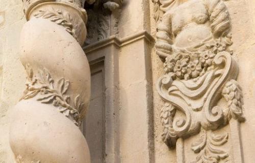 COSTA BLANCA LA VEGA BAJA ORIHUELA Iglesia de Santiago Detalle de la fachada de la Capilla de la Comunión