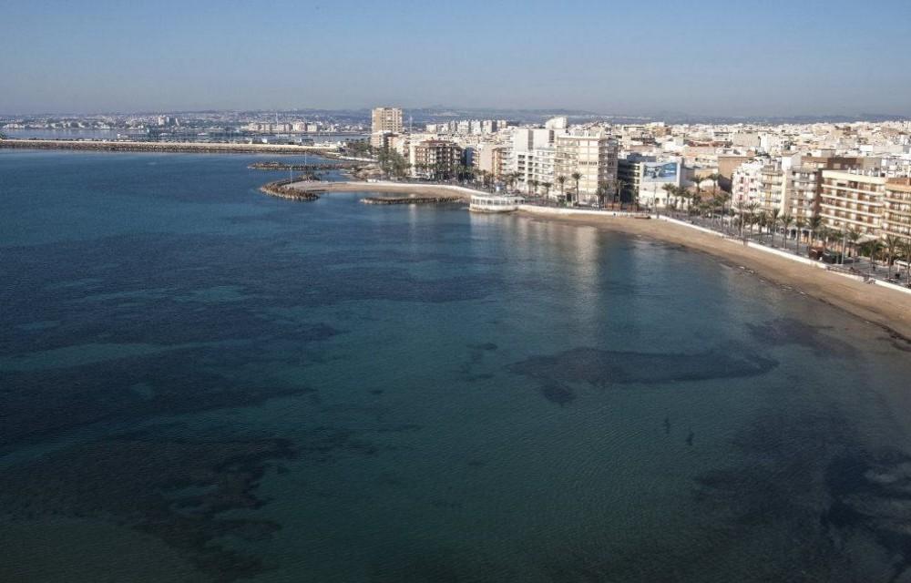 costa blanca torrevieja playa con diferentes azules del mar